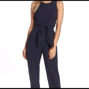 Eliza J Navy Tie Front Jumpsuit